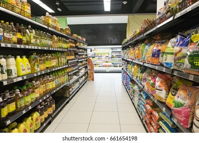 SELANGOR, MALAYSIA - 12 JUNE, 2017: Variety of products display on rack in hypermart at Puncak Alam, Malaysia