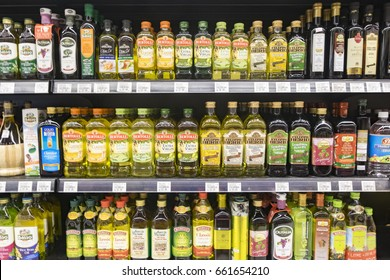 SELANGOR, MALAYSIA - 12 JUNE, 2017: Variety of olive oil display on rack in hypermart at Puncak Alam, Malaysia