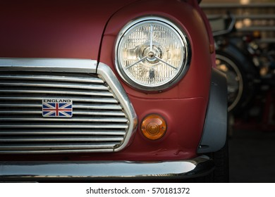 Selangor, Malaysia - 13 November 2016: Red classic Austin Mini Cooper retro vehicle.  Frontal view of a red Mini Cooper vintage .