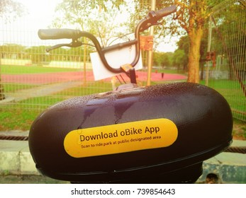 Selangor, Malaysia 15 October 2017: obike services that people can use for cycling and practise healthy lifestyle.