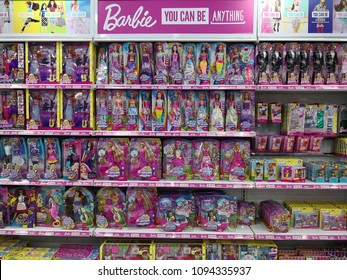 Selangor Malaysia.May 19 2018. Shelves overstock and full of Mattel's Barbie doll toys in Toys R Us.