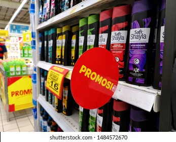 Selangor, Malaysia - 19th August 2019: Various kind of Safi Shayla shampoo in supermarket with words PROMOSI in malay means PROMOTION