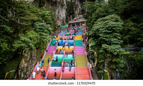 Selangor, Malaysia - 1Sep 2018: The Famous and Iconic limestone with new rainbow paint at Batu Cave popular with tourist attraction in Selangor, Malaysia.