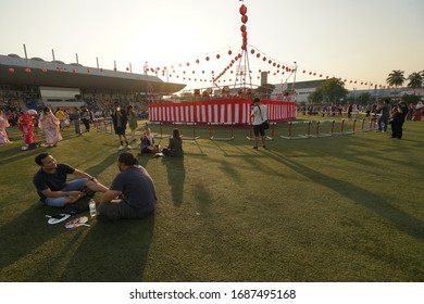 Selangor, Malaysia - 20 July 2019: Bon Odori Dance Performance in 43rd Bon Odori Festival 2019 at Panasonic National Sport Complex Shah Alam. Image contain certain grain or noise and soft focus.