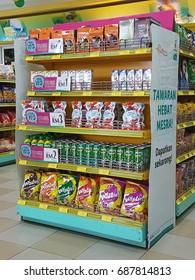 SELANGOR, MALAYSIA - 20/07/2017 : Various type of snack and soft drink at the supermarket.
