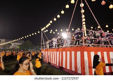 Selangor, Malaysia - 21 July 2018: Bon Odori Dance Performance in 42nd Bon Odori Festival 2018 at Panasonic National Sport Complex Shah Alam. Image contain certain grain or noise and soft focus.