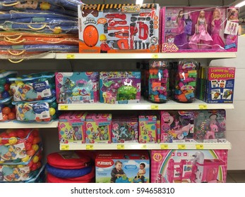 SELANGOR, MALAYSIA - 28 FEB 2017   AEON BIG SUPERMARKET. AEON BIG (M) SDN BHD. started operations on 1st November 2012. Toys on display neatly on the shelves for sale