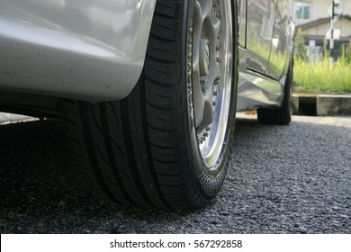 SELANGOR, MALAYSIA - 30 JANUARY 2017 : Car tire and rim, road safety concept