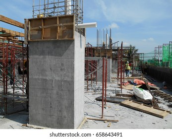 SELANGOR, MALAYSIA -APRIL 17, 2017: Casted concrete column at the construction site. Provided protruding reinforcement bar and ready for next concreting work. Under construction.