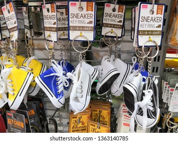 Selangor, Malaysia- April 2019 : Sneaker key ring display for sale at Daiso shop, Ecurve shopping mall. Daiso Industries Co., Ltd. is a large franchise of 100-yen shops founded in Japan.