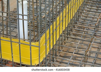 SELANGOR, MALAYSIA -APRIL 30, 2016: Hot rolled deformed steel bars or steel reinforcement bar tied together before cast in the concrete. Its increase the concrete strength.