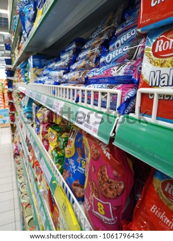 babf6abef Selangor , Malaysia - April 4, 2018 : variety of snack at the supermarket  shelf