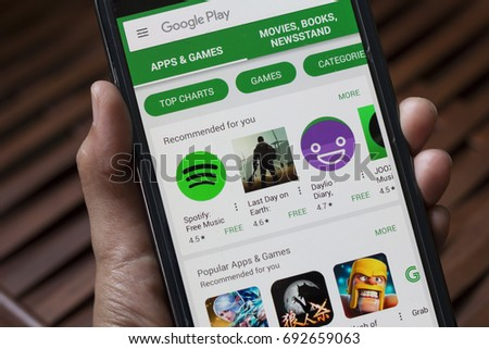 Selangor, Malaysia - August 07, 2017: Google Play Store on Android smartphone. It is an application store for the Android OS, allowing users to download apps, games, books and newsstand.