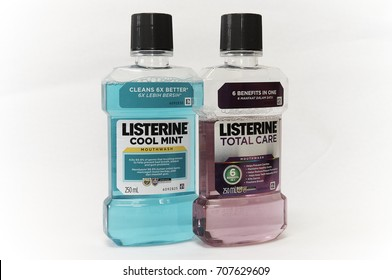 Selangor, Malaysia - August 13th, 2017: Listerine Cool Mint and Listerine Total Care Mouthwash. Listerine is a brand of antiseptic mouthwash and approved by Malaysian Dental Association.