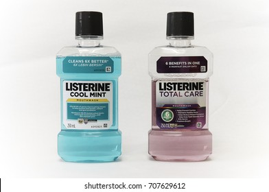 Selangor, Malaysia - August 13th, 2017: Listerine Cool Mint and Listerine Total Care Mouthwash are clinically shown to reduce 52% more plaque and 21% more gingivitis than brushing and flossing alone.
