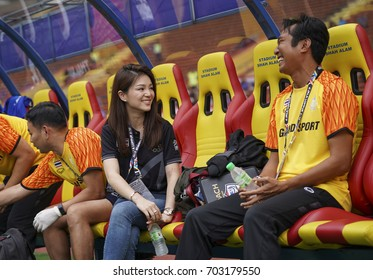 SELANGOR, MALAYSIA - AUGUST 15, 2017 : Thailand Team Manager, Watanya Wongopasi (2ndR) during men's football Group A round match of the 29th Southeast Asian Games (SEA Games) at Shah Alam Stadium.