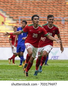 SELANGOR, MALAYSIA - AUGUST 16, 2017 : Septian David Maulana of Indonesia celebrates his goal during men's football Group B match of the 29th Southeast Asian Games (SEA Games) at Shah Alam Stadium.