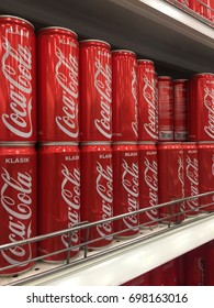 SELANGOR, MALAYSIA - AUGUST 2017. Coca Cola drinks displayed at outlets store