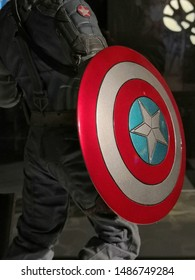Selangor, Malaysia- August 2019 : Closeup on Captain America shield movie action figure toy is display in TGV golden cinemas during movie showtime at Bandar Utama, Selangor, Malaysia.