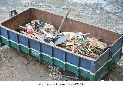 SELANGOR, MALAYSIA -AUGUST 26, 2016: Construction wasted disposal bin used at the construction site.