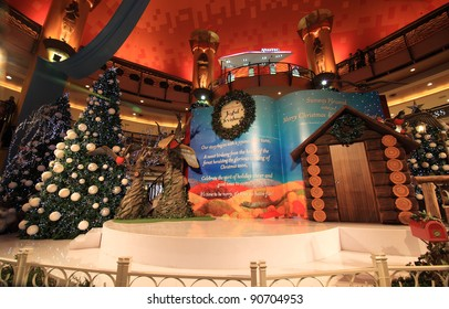"""SELANGOR, MALAYSIA - DECEMBER 11: The Christmas decorations at Sunway Pyramid Shopping Centre on December 11, 2011 in Selangor, Malaysia. Theme of this year is """"Joyful Christmas""""."""