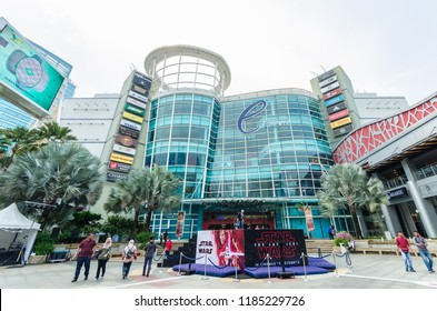 Selangor, Malaysia - December 16,2017 : Exterior view of The Curve Mall which is located in Mutiara Damansara. People can seen exploring and shopping around it.