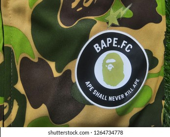 Selangor, Malaysia- December, 2018: Closeup BAPE shirts in shopping mall .A Bathing Ape (BAPE) is a Japanese clothing company founded by Nigo in 1993, specializes in lifestyle and street wear.