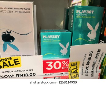 Selangor, Malaysia- December, 2018 : PLAYBOY brands of condoms display for sale in Watson store. Founded by Hugh M. Hefner in 1953.