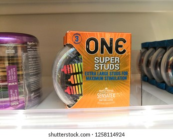 Selangor, Malaysia- December, 2018 : SENSATEX condoms display for sale in Watson store. Made in Malaysia.
