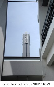 SELANGOR, MALAYSIA - JANUARY 05, 2015: Minaret of Puncak Alam Mosque at Puncak Alam, Selangor, Malaysia. The mosque has capacity 5000 people. It was officially open for public on June 2014.
