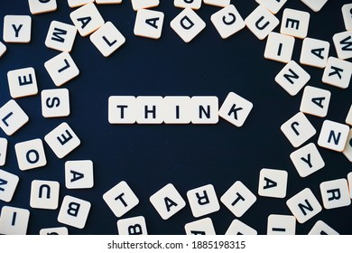 Selangor, Malaysia - January 1, 2021: Selective focus of scrabble letters spelling the word THINK, idea concept for study case.
