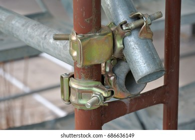 SELANGOR, MALAYSIA -JANUARY 12, 2016: Scaffolding connector detail at the construction site. The connector bind or tie scaffolding or safety pipe together.