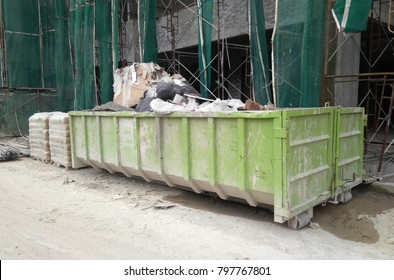 SELANGOR, MALAYSIA -JANUARY 15, 2017: Construction wasted disposal bin used to collect rubbish and unused material at the construction site.