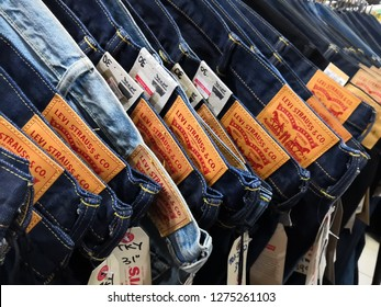 Selangor, Malaysia - January 2019 : Closeup Levi's jeans display in outlet.Selective focus. Levi Strauss & Co.known worldwide for its Levi's brand of denim jeans. Founded in May 1853.