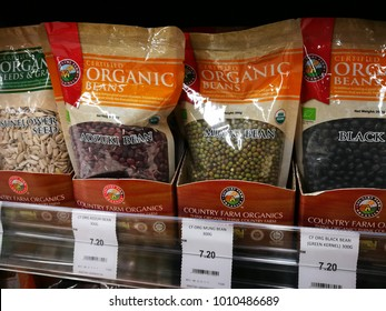 Selangor, Malaysia - January 26, 2018 : Organic products wrapped in packages on dispay at Aeon Maxvalue, Evo Mall, Bandar Baru Bangi.