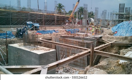 SELANGOR, MALAYSIA -JULY 14, 2016: The concrete pile cap concreted at the construction site in Selangor Malaysia. The pile cap is the part of building foundation.