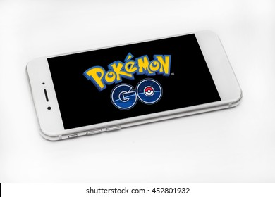 SELANGOR, MALAYSIA - JULY 15TH, 2016: Pokemon Go logo on a smartphone. Pokemon Go is a free-to-play augmented reality mobile game developed by Niantic for iOS and Android devices.