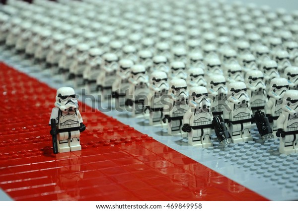 """SELANGOR, MALAYSIA -JULY 30, 2016: First Order Stormtroopers armys figure from Starwars VII """"The Force Awakens"""" made from LEGO bricks."""