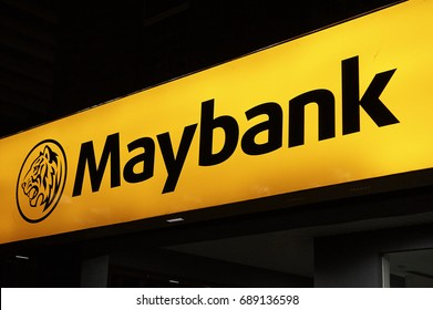 SELANGOR, MALAYSIA - JULY 30, 2017 : Maybank signage. Malayan Banking Berhad (Maybank) operates in financial services with significant banking operations in Singapore, Indonesia and the Philippines.