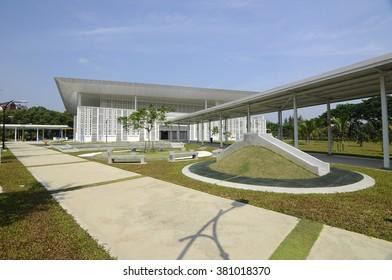 SELANGOR, MALAYSIA - JUNE 15, 2015: Ara Damansara Mosque at the Ara Damansara, Selangor, Malaysia. It is a modern design mosque and has gold medal award in the green technology index.