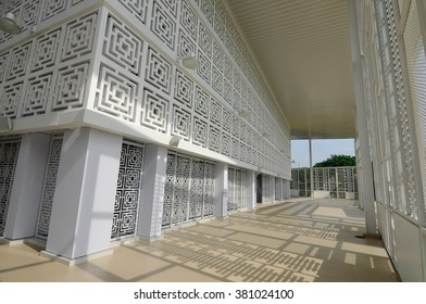 SELANGOR, MALAYSIA - JUNE 15, 2015: Interior of Ara Damansara Mosque at the Ara Damansara, Selangor, Malaysia. It is a modern design mosque and has gold medal award in the green technology index.