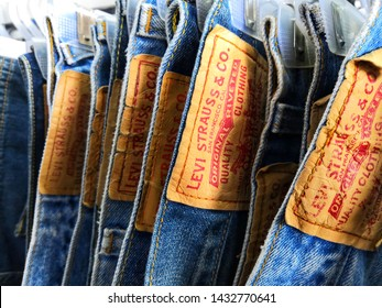 Selangor, Malaysia - June 2019 : Closeup Levi's jeans display in outlet.Selective focus. Levi Strauss & Co.known worldwide for its Levi's brand of denim jeans. Founded in May 1853.