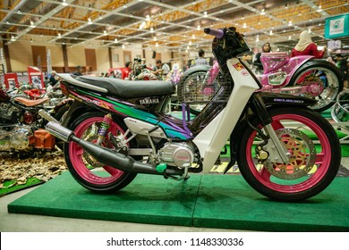 Selangor, Malaysia - June 26, 2018 : Custom Yamaha 110ss motorcycles are shown at Art Of Speed Malaysia 2018 motorshow in MAEPS Serdang, Selangor.