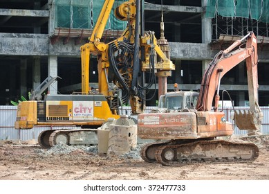 SELANGOR, MALAYSIA â?? MARCH, 2015: Bore pile rig at the construction site in Malaysia. This heavy machine used during the building foundation work stage.
