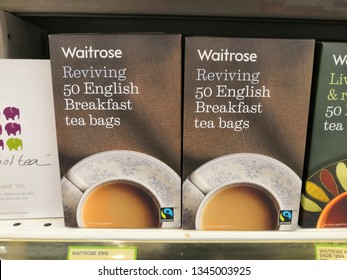 Selangor, Malaysia - March 2019 : A box of English breakfast tea bags from Waitrose brand at supermarket shelf - Image