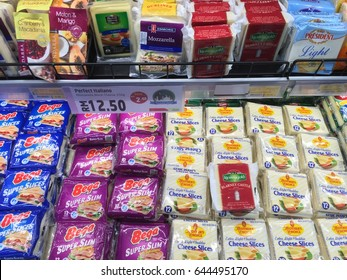 SELANGOR, MALAYSIA - MAY 21, 2017 : various types of cheese sold in hypermarket in Ampang, Selangor, Malaysia
