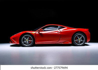 Selangor, Malaysia - May 9 2015 : A Ferrari 458 Speciale model on a black background.