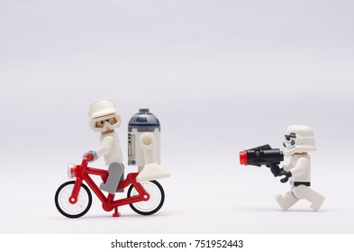 selangor, malaysia, nov 08, 2017.storm trooper chasing rebel army and r2d2.  Lego minifigures are manufactured by The Lego
