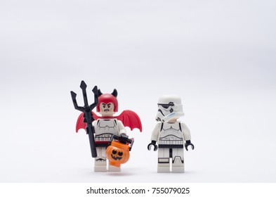 selangor, Malaysia, nov12, 2017. storm trooper and storm trooper wearing a devil costume.  Lego minifigures are manufactured by The Lego.