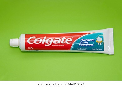 SELANGOR, MALAYSIA - November 1, 2017: Colgate tooth paste on white.Colgate is a brand of toothpaste produced by Colgate-Palmolive